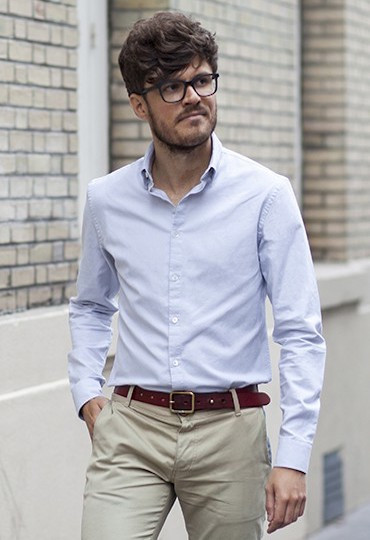 Chemise Oxford Gris
