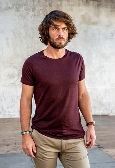 Tee-shirt en laine bordeaux